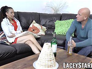 LACEYSTARR - dark-hued babe shares fuckpole before internal cumshot