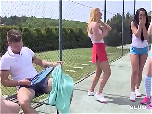 4 naughty teenagers deep-throat and drill on tennis court