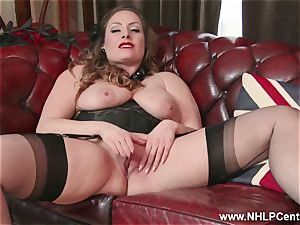 inborn fat globes black-haired Sophia Delane wanks in nylons