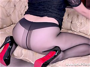 blond gets out giant titties rips open her sheer pantyhose