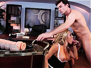 The maid polishes his fuckpole with her slit