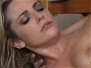 Bailey Blue gets her shaven pussy slammed with wood