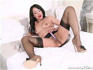 molten black honey jerks off playing in nylons girdle high-heeled shoes