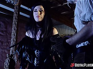 Danny D fools around as Geralt and pokes black-haired stunner