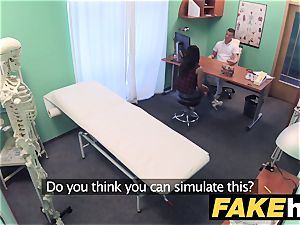 faux polyclinic timid brunette has explosive orgasms