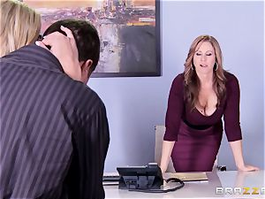 Julia Ann and Olivia Austin plow the boss together