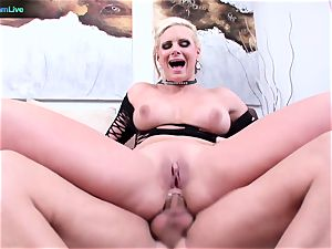 Phoenix Marie pridefully flashes her widely opened fuck-hole