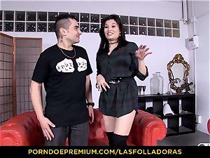 LAS FOLLADORAS - diminutive asian rear end style fuck