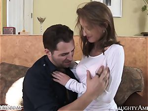 A slender damsel with giant jugs loves fuck-fest with her friend's husband