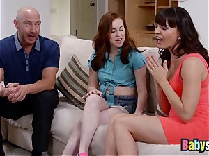Ginger nanny has super hot threeway with worshipping cougar
