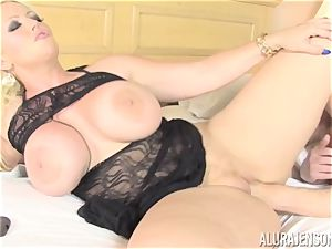 business girl Alura Jenson makes her employee gobble out his own spunk out of her cootchie
