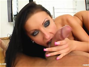Nikki Rider gives suck off to many studs and gets bukkak