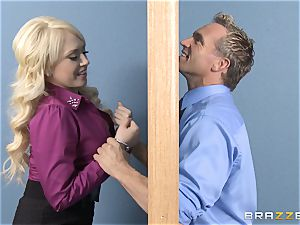 light-haired secretary Kagney Linn Karter tearing up her mischievous colleague