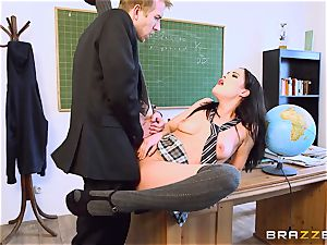 schoolgirl Dolly Diore pummeling her large dicked educator