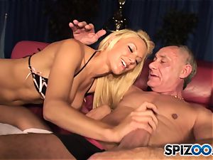 Grandad plays with brit towheaded cutie Lou Lou