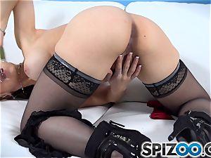 Sarah Vandella using her glass fuck stick