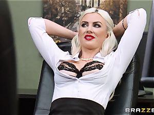 stunning secretay Gigi Allens is shackled to her desk