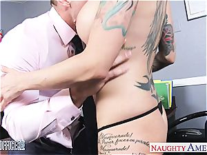 Anna Bell Peaks moist at the office for a great pummel