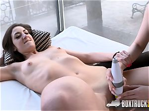 molten Angel Wicky uses 2 massagers on Miky love in Public