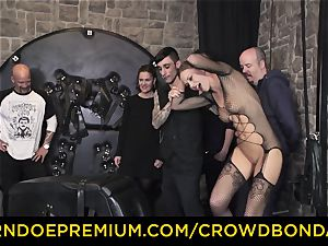 CROWD restrain bondage - extraordinary bdsm boink wheel with Tina Kay