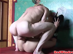 Real dutch hooker deepthroating testicles while wanking