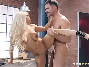 Luna starlet taking it rock hard in her trimmed cooch