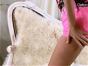 steaming onanism In pink undies