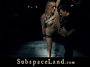 slave girl platinum-blonde pleasured and punished in submission