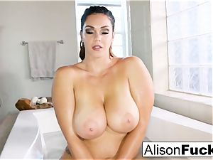 chesty Alison Tyler takes a bath and touches herself down