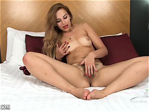 Anna Smith plays with her tight unshaved puss
