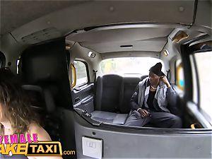 damsel faux cab enormous dark-hued salami plumbs nasty driver