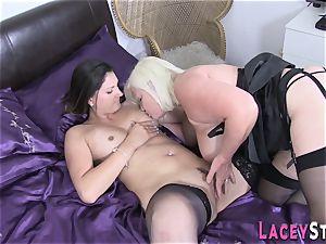 Stockinged grandma licks