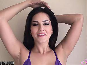 SunnyLeone Sunny Leone in luxurious purple lingerie