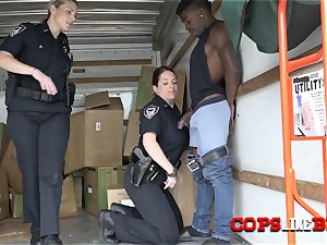 cage phone thief is positioned on his knees to plumb cougar cops in doggy style