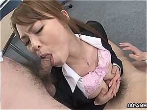 whorey secretary has to deep-throat her fucking partners' jizz-shotguns