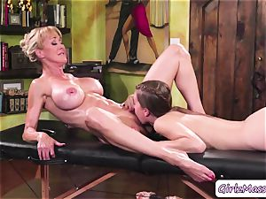 massagist Jill Kassidy massage Brandi love assets and munches her moist fuckbox