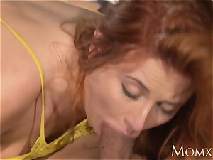 mommy wondrous bootylicious Russian ginger-haired inhales and boned