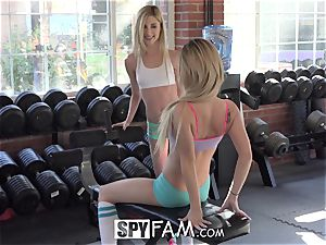 SpyFam Step brother Catches Step Sisters tonguing snatch