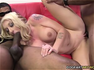 Leya Falcon gets gang-fucked by thick ebony spears