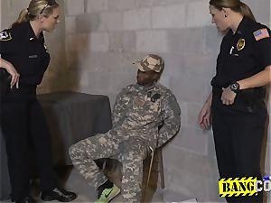 Bogus soldier gets his manhood ridden by perverted cougar cops