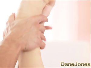 Dane Jones bashful teen blondie doll takes her first-ever manstick