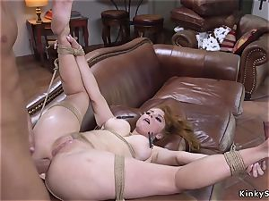 red-haired in fishnets flagellated and buttfuck pummeled