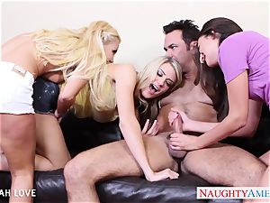 magnificent Aaliyah enjoy porking in 4 way