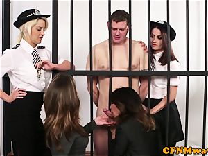 CFNM police female dominance milking off prisoner