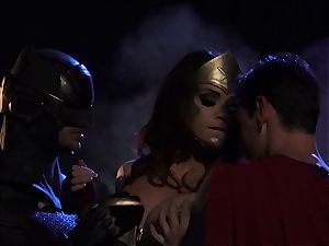 Alison Tyler nails 2 horny superheroes