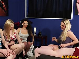 CFNM babes sharing rigid meatpipe in gang