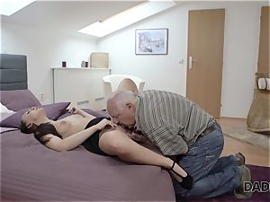 DADDY4K. parent and youthfull girl molten romp in couch culminates with internal cumshot