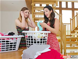 labia kneading adorable Eva Lovia and Stella Cox messing in the laundry