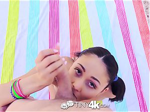 Tiny4K brunette Ariana Marie backyard pound with cum shot