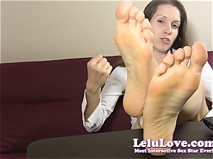 assistant teases and teases you with her bare feet